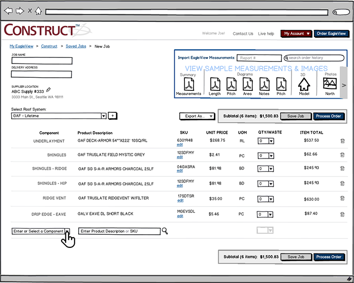 CONSTRUCT wireframes